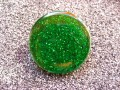 "Green sequins ""pop"" resin ring"