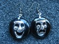 """Happy and sad mask"" asymetric resin black earrings"