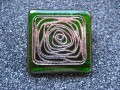 Green/silver stamp great square resin ring