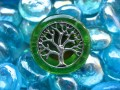 """Tree of life"" fantaisie green/silver resin ring"
